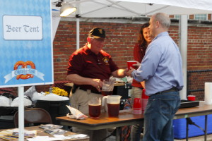 Larry pours the beer